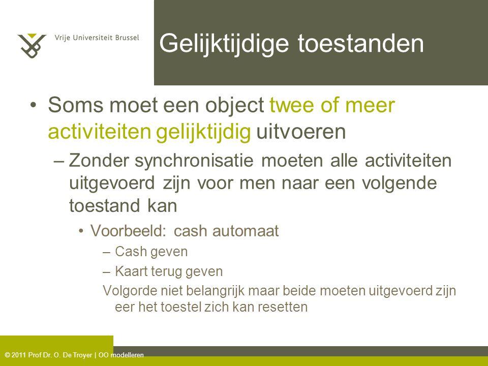 © 2011 Prof Dr. O. De Troyer | OO modelleren Gelijktijdige toestanden Soms moet een object twee of meer activiteiten gelijktijdig uitvoeren –Zonder sy