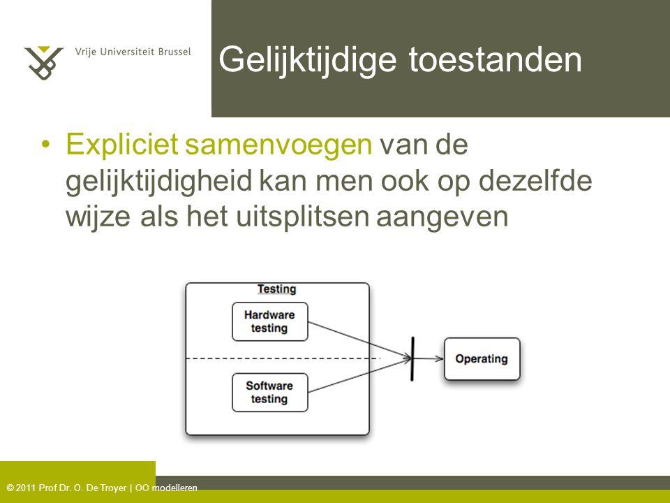 © 2011 Prof Dr. O. De Troyer | OO modelleren Gelijktijdige toestanden Expliciet samenvoegen van de gelijktijdigheid kan men ook op dezelfde wijze als