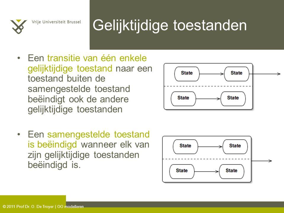 © 2011 Prof Dr. O. De Troyer | OO modelleren Gelijktijdige toestanden Een transitie van één enkele gelijktijdige toestand naar een toestand buiten de
