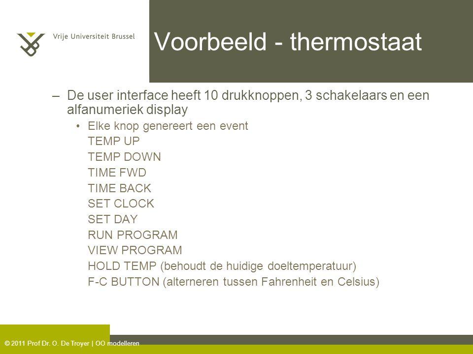 © 2011 Prof Dr. O. De Troyer | OO modelleren Voorbeeld - thermostaat –De user interface heeft 10 drukknoppen, 3 schakelaars en een alfanumeriek displa