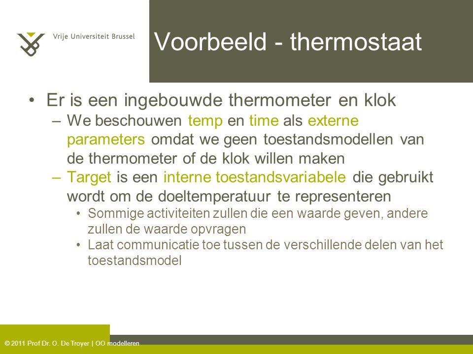 © 2011 Prof Dr. O. De Troyer | OO modelleren Voorbeeld - thermostaat Er is een ingebouwde thermometer en klok –We beschouwen temp en time als externe