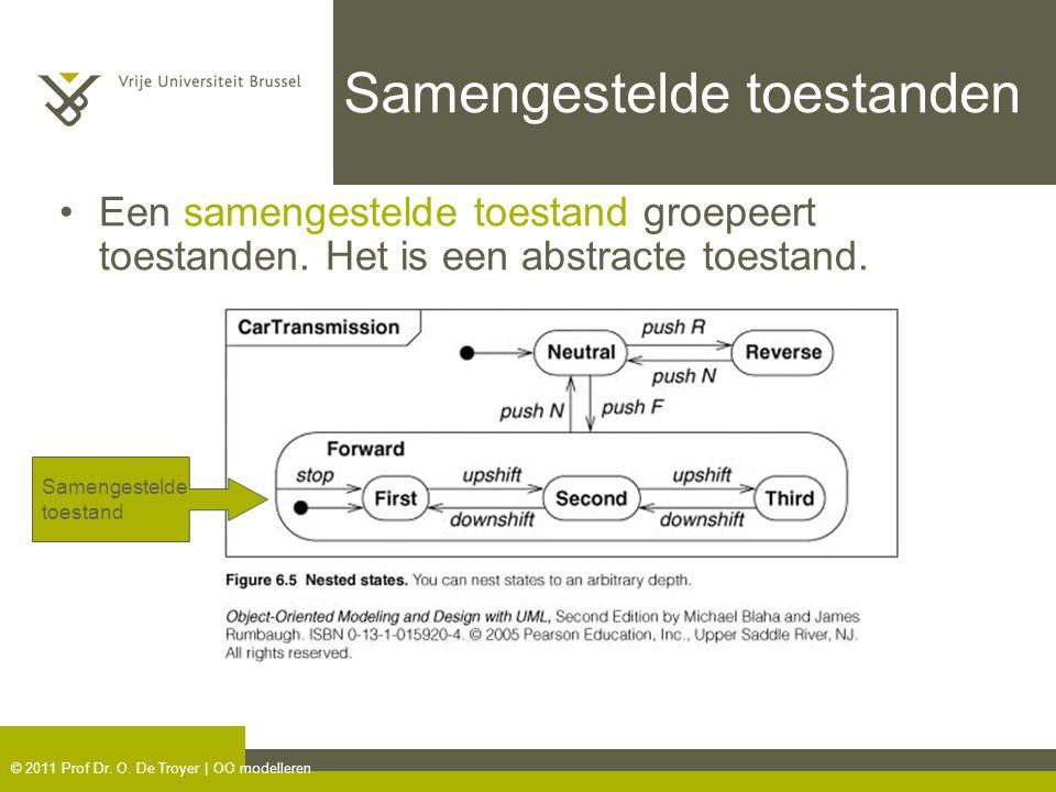 © 2011 Prof Dr. O. De Troyer | OO modelleren Samengestelde toestanden Een samengestelde toestand groepeert toestanden. Het is een abstracte toestand.