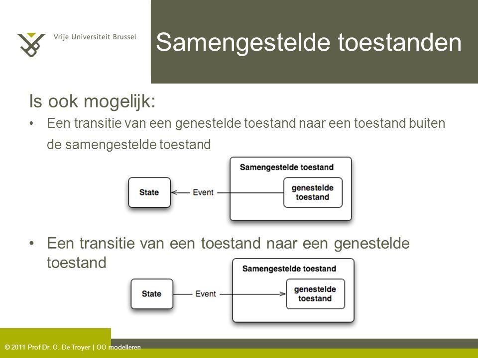 © 2011 Prof Dr. O. De Troyer | OO modelleren Samengestelde toestanden Is ook mogelijk: Een transitie van een genestelde toestand naar een toestand bui