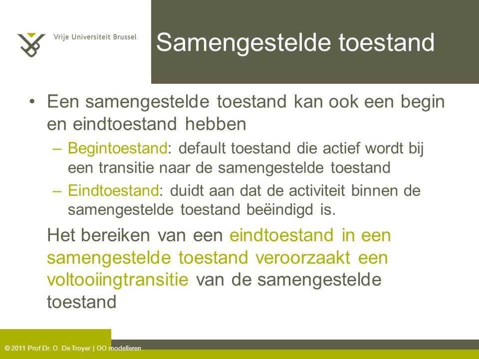 © 2011 Prof Dr. O. De Troyer | OO modelleren Samengestelde toestand Een samengestelde toestand kan ook een begin en eindtoestand hebben –Begintoestand