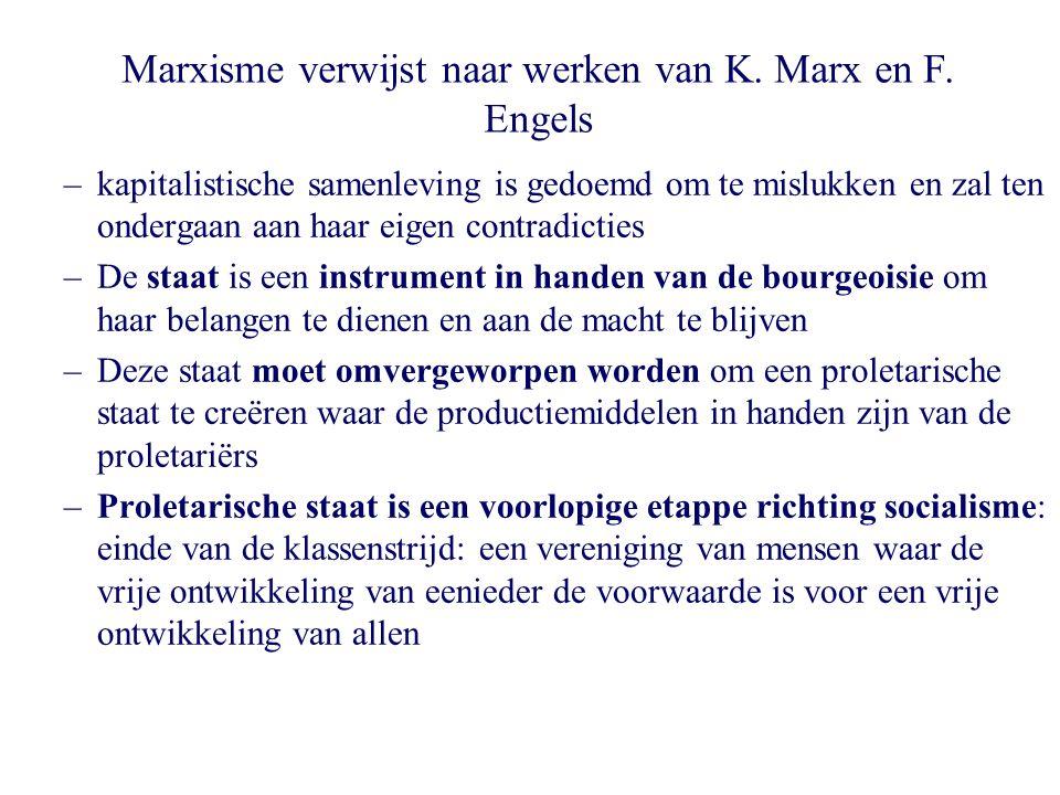 Marxisme verwijst naar werken van K. Marx en F. Engels –kapitalistische samenleving is gedoemd om te mislukken en zal ten ondergaan aan haar eigen con