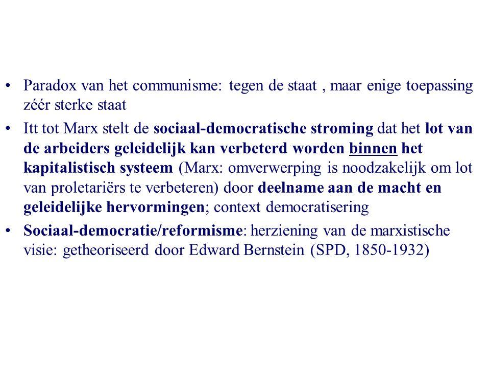 Paradox van het communisme: tegen de staat, maar enige toepassing zéér sterke staat Itt tot Marx stelt de sociaal-democratische stroming dat het lot v