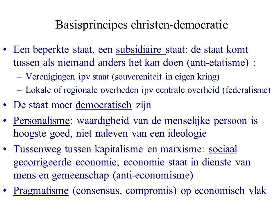 Basisprincipes christen-democratie Een beperkte staat, een subsidiaire staat: de staat komt tussen als niemand anders het kan doen (anti-etatisme) : –