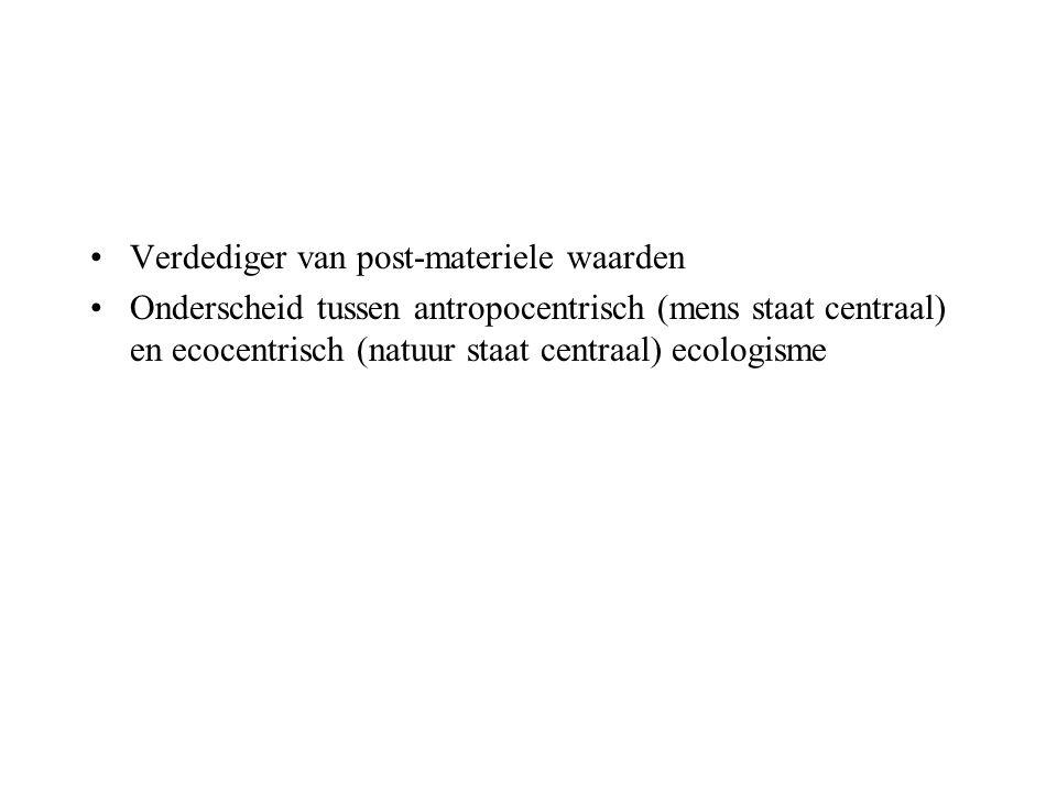 Verdediger van post-materiele waarden Onderscheid tussen antropocentrisch (mens staat centraal) en ecocentrisch (natuur staat centraal) ecologisme