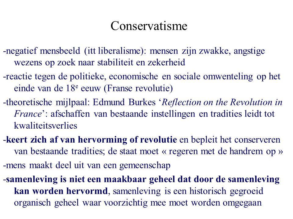 Conservatisme -negatief mensbeeld (itt liberalisme): mensen zijn zwakke, angstige wezens op zoek naar stabiliteit en zekerheid -reactie tegen de polit
