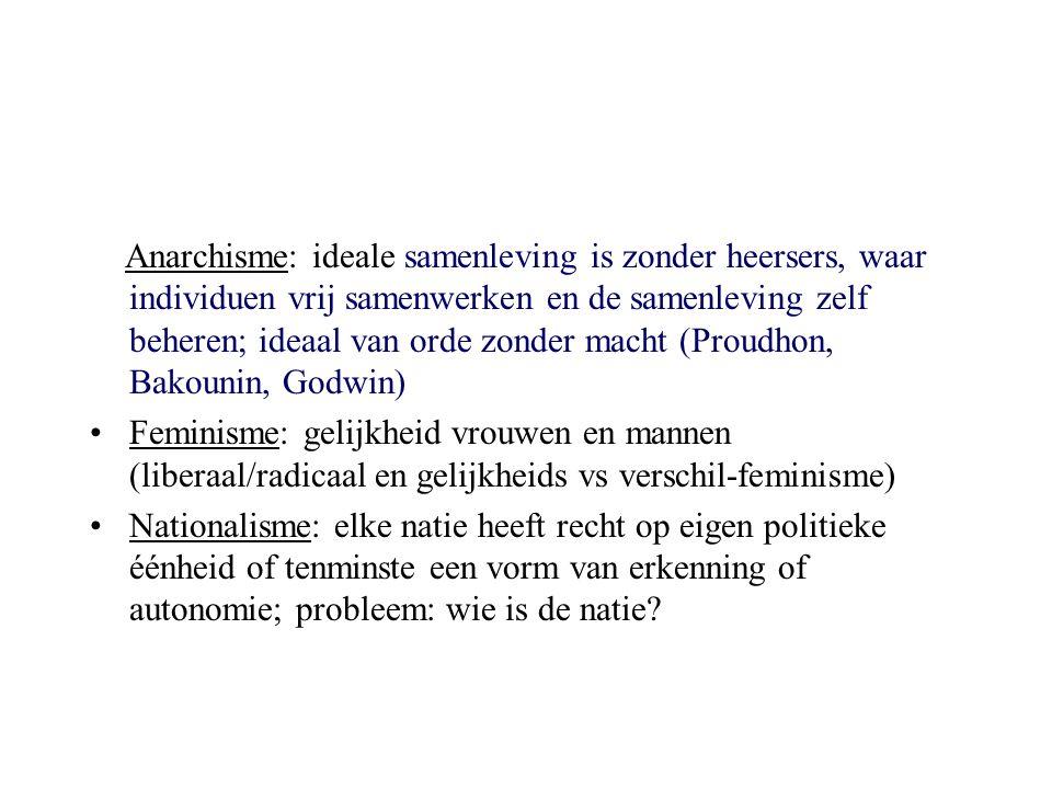 Anarchisme: ideale samenleving is zonder heersers, waar individuen vrij samenwerken en de samenleving zelf beheren; ideaal van orde zonder macht (Prou