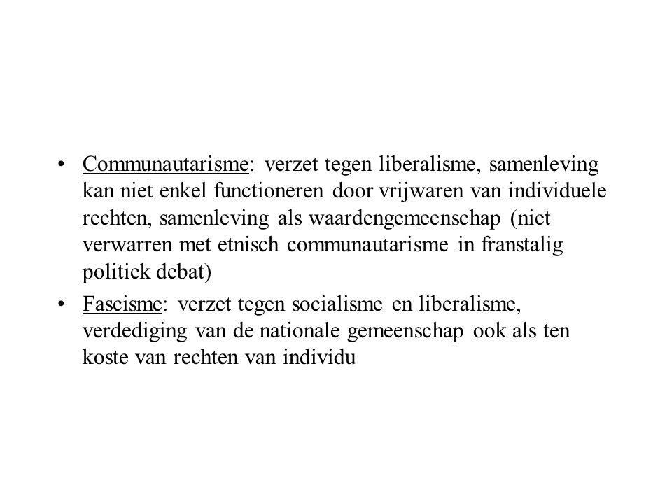 Communautarisme: verzet tegen liberalisme, samenleving kan niet enkel functioneren door vrijwaren van individuele rechten, samenleving als waardengeme