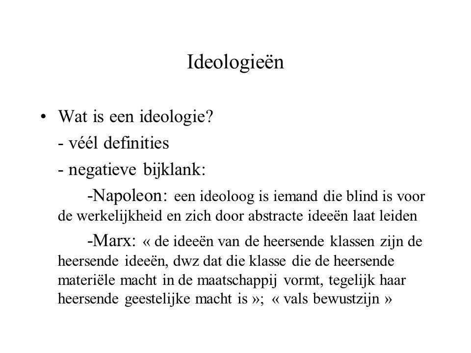 Ideologieën Wat is een ideologie? - véél definities - negatieve bijklank: -Napoleon: een ideoloog is iemand die blind is voor de werkelijkheid en zich