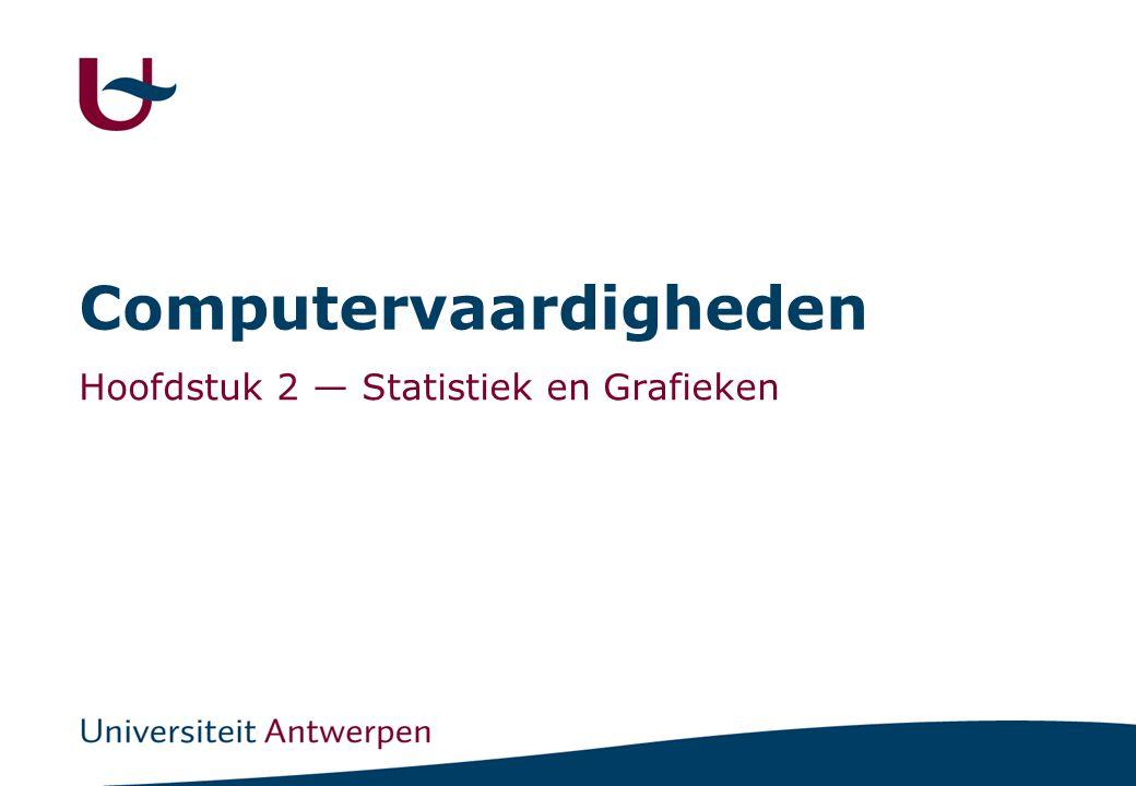 2 Inhoud Statististiek -Sorteren en tellen COUNTIF, COUNTA, IF -Controles en Robuustheid -Gemiddelde, afwijking, mediaan en kwartielen AVERAGE, STDDEV, MEDIAN, MIN, MAX, QUARTILE -Frequentiedistributie FREQUENCY ( array formule !.