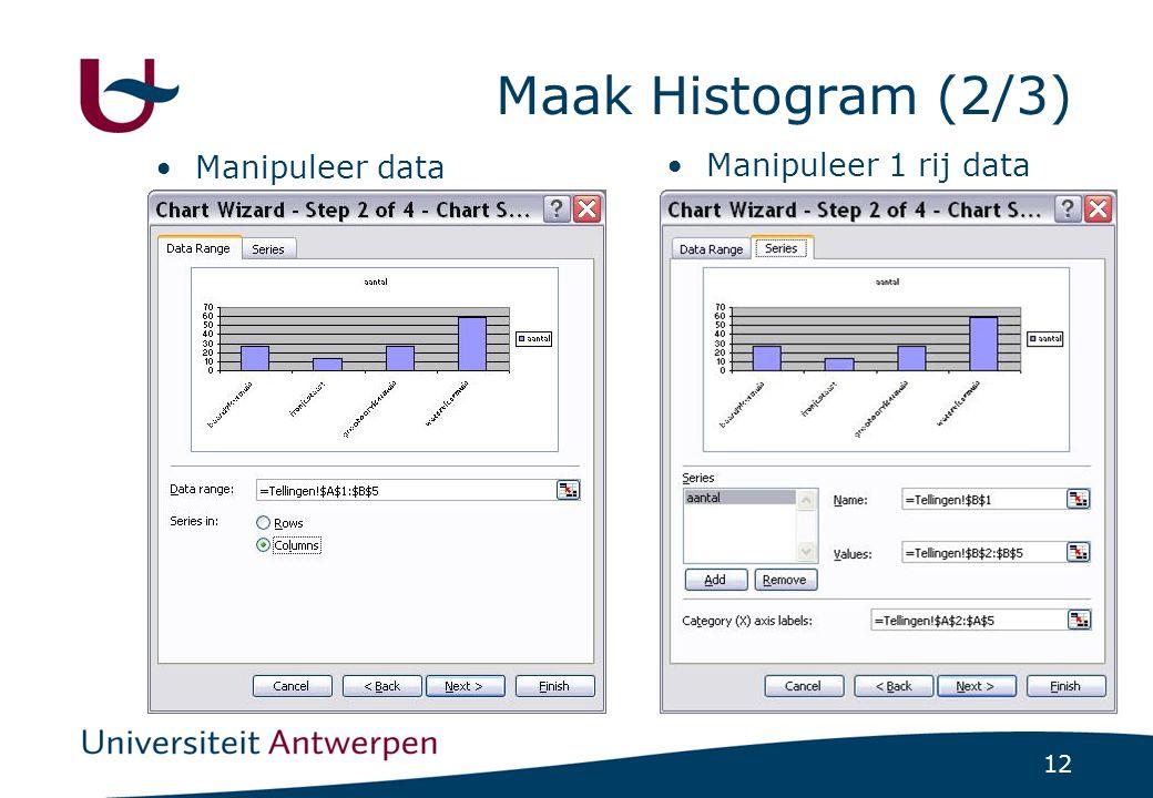 12 Maak Histogram (2/3) Manipuleer data Manipuleer 1 rij data