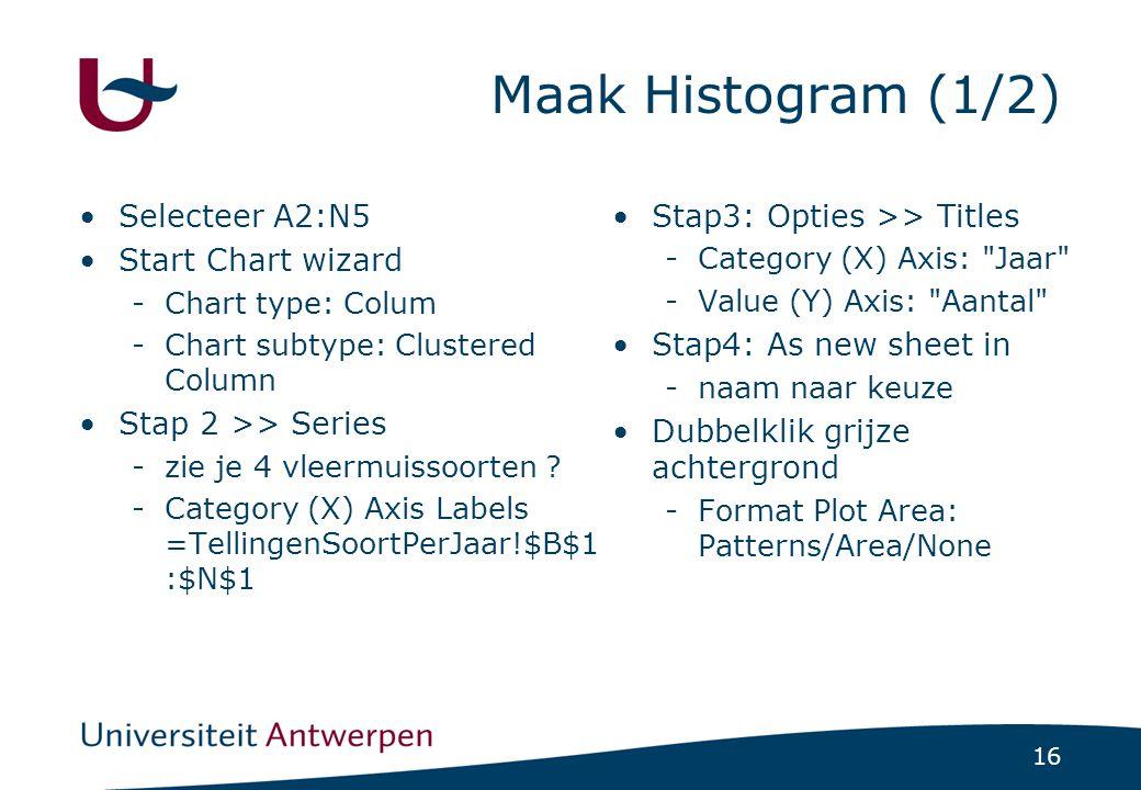 16 Maak Histogram (1/2) Selecteer A2:N5 Start Chart wizard -Chart type: Colum -Chart subtype: Clustered Column Stap 2 >> Series -zie je 4 vleermuissoorten .