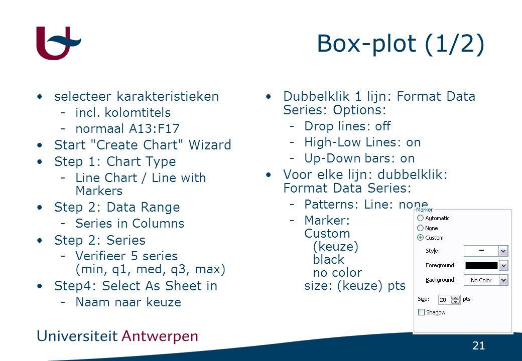 21 Box-plot (1/2) selecteer karakteristieken -incl. kolomtitels -normaal A13:F17 Start