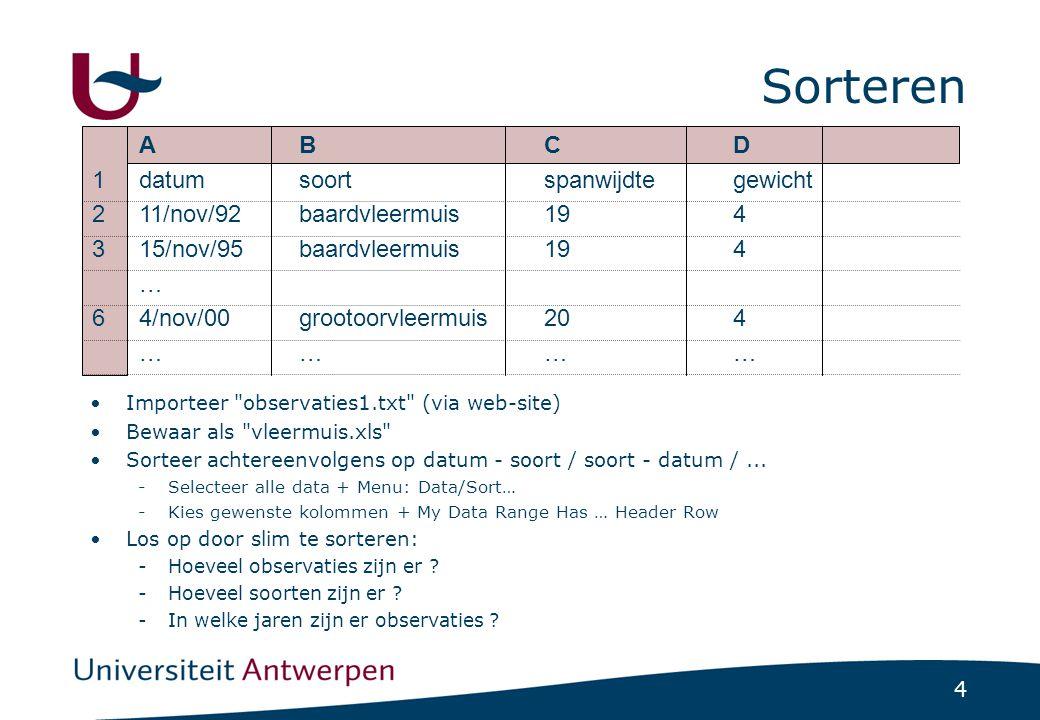 15 Stapsgewijs Ga naar blad observaties1 E1 = kolomtitel soortEnJaar E2 = unie kolom soort en datum -YEAR(A2) -TEXT(YEAR(A2); 0 )) -CONCATENATE(B2; TEXT(YEAR(A2); 0 )) -Zie help voor uitleg Doe Fill Down voor resterende cellen in kolom Definieer naam SoortEnJaar voor E2:Exxx Maak nieuw blad - TellingSoortPerJaar B1: vul in 1992 -Menu: Edit/Fill/Series… -Series in: Rows; Type: Linear Step value: 1; Stop value: 2004 Vul soorten in in A2:A5 A2 =COUNTIF(soortEnJaar; CONCATENATE(A2;B1)) Zet $ en Fill Down/Fill Right Controle via subtotalen !!