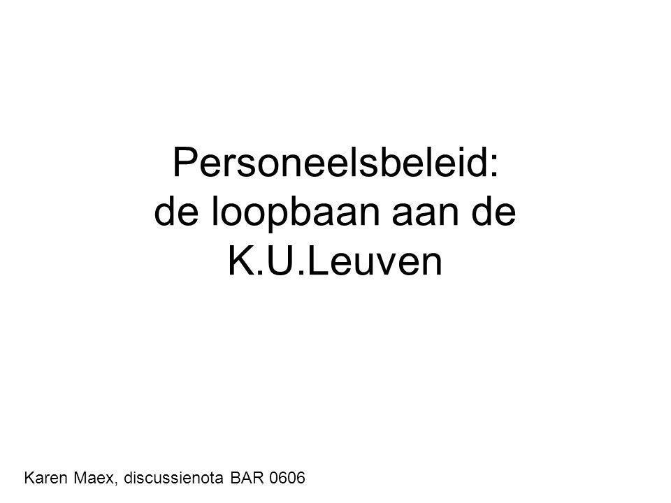 Personeelsbeleid: de loopbaan aan de K.U.Leuven Karen Maex, discussienota BAR 0606
