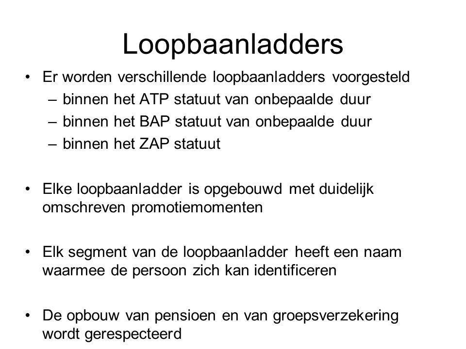 Loopbaanladders Er worden verschillende loopbaanladders voorgesteld –binnen het ATP statuut van onbepaalde duur –binnen het BAP statuut van onbepaalde