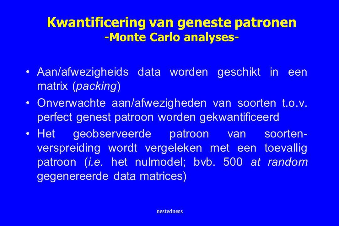 nestedness Kwantificering van geneste patronen -Monte Carlo analyses- Aan/afwezigheids data worden geschikt in een matrix (packing) Onverwachte aan/af