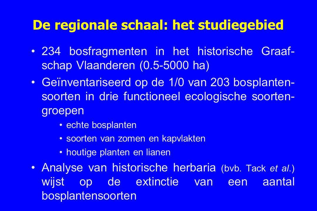 De regionale schaal: het studiegebied 234 bosfragmenten in het historische Graaf- schap Vlaanderen (0.5-5000 ha) Geïnventariseerd op de 1/0 van 203 bo