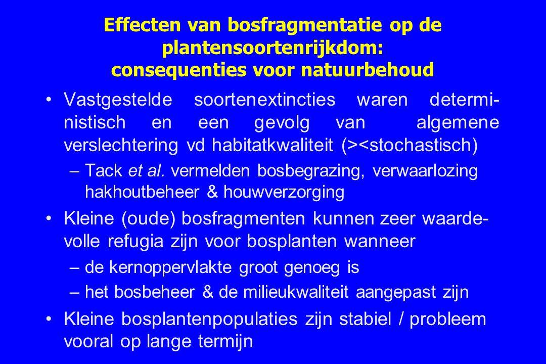 Effecten van bosfragmentatie op de plantensoortenrijkdom: consequenties voor natuurbehoud Vastgestelde soortenextincties waren determi- nistisch en ee