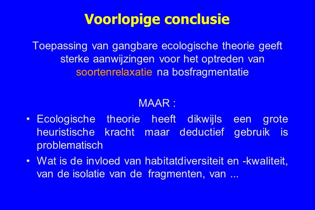 Voorlopige conclusie Toepassing van gangbare ecologische theorie geeft sterke aanwijzingen voor het optreden van soortenrelaxatie na bosfragmentatie M