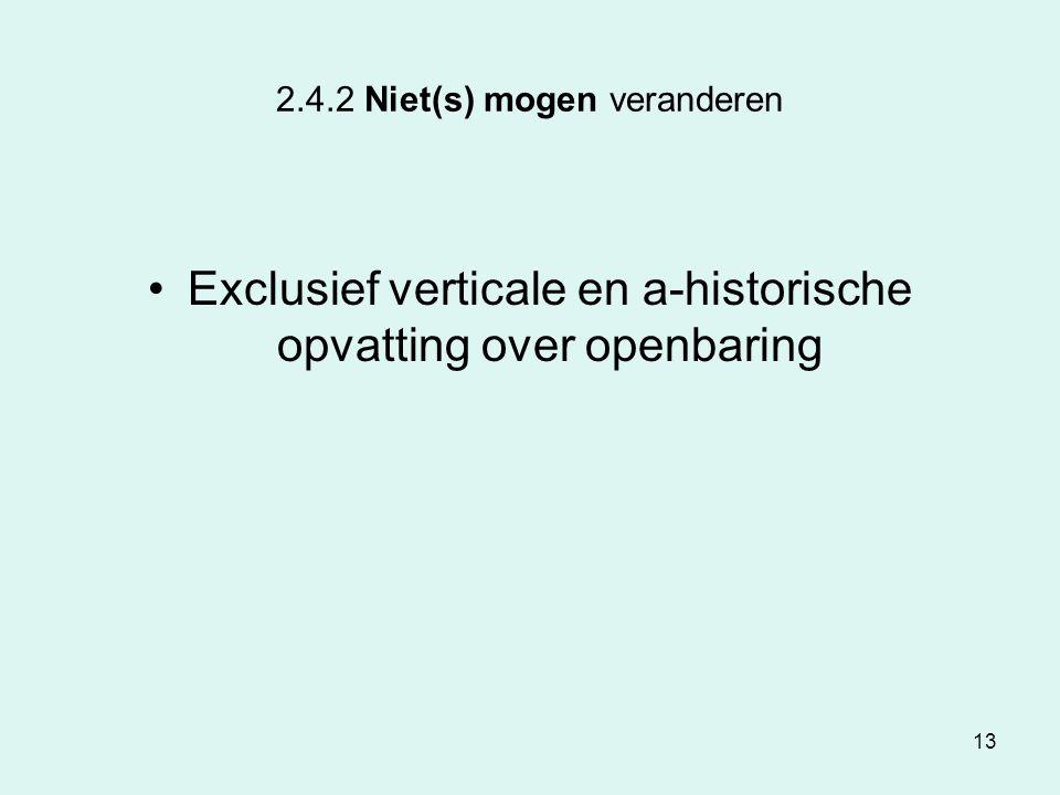 13 2.4.2 Niet(s) mogen veranderen Exclusief verticale en a-historische opvatting over openbaring
