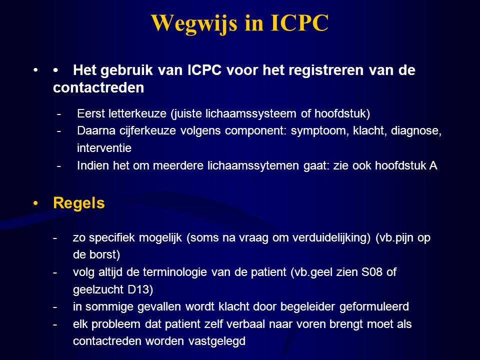 Wegwijs in ICPC Het gebruik van ICPC voor het registreren van de contactreden Regels -Eerst letterkeuze (juiste lichaamssysteem of hoofdstuk) -Daarna