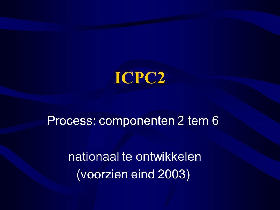 ICPC2 Process: componenten 2 tem 6 nationaal te ontwikkelen (voorzien eind 2003)
