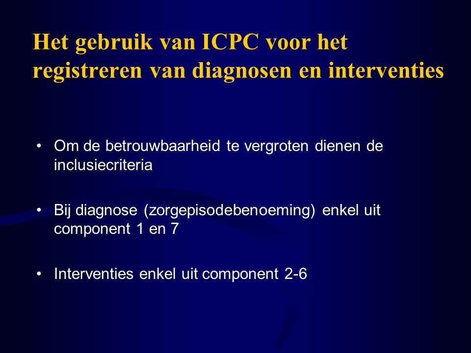 Het gebruik van ICPC voor het registreren van diagnosen en interventies Om de betrouwbaarheid te vergroten dienen de inclusiecriteria Bij diagnose (zo