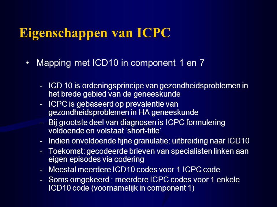 Eigenschappen van ICPC Mapping met ICD10 in component 1 en 7 -ICD 10 is ordeningsprincipe van gezondheidsproblemen in het brede gebied van de geneesku