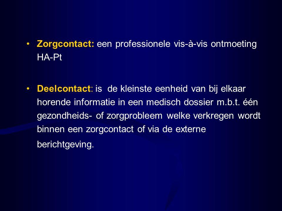 Zorgcontact: een professionele vis-à-vis ontmoeting HA-Pt Deelcontact: is de kleinste eenheid van bij elkaar horende informatie in een medisch dossier