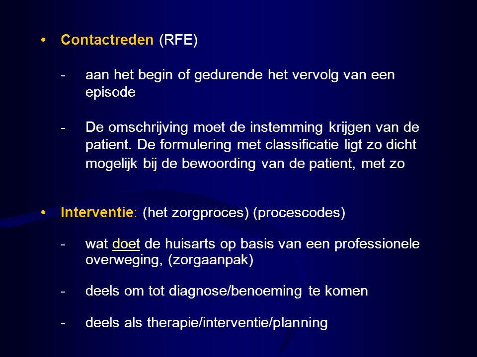 Interventie: (het zorgproces) (procescodes) -wat doet de huisarts op basis van een professionele overweging, (zorgaanpak) -deels om tot diagnose/benoe