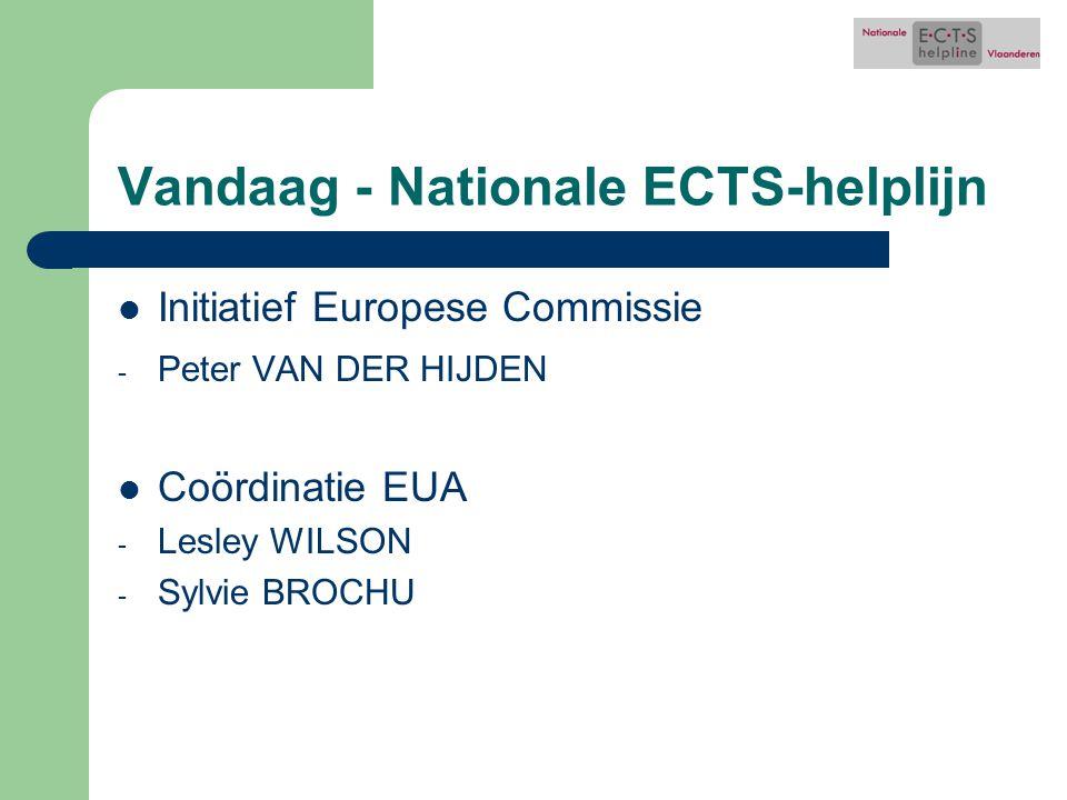 Vandaag - Nationale ECTS-helplijn Initiatief Europese Commissie - Peter VAN DER HIJDEN Coördinatie EUA - Lesley WILSON - Sylvie BROCHU