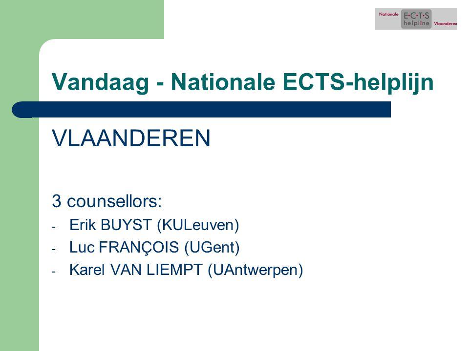 Vandaag - Nationale ECTS-helplijn VLAANDEREN 3 counsellors: - Erik BUYST (KULeuven) - Luc FRANÇOIS (UGent) - Karel VAN LIEMPT (UAntwerpen)