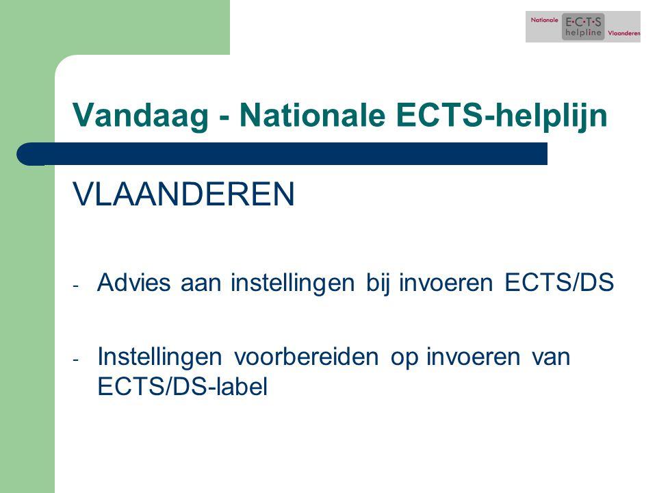 Vandaag - Nationale ECTS-helplijn VLAANDEREN - Advies aan instellingen bij invoeren ECTS/DS - Instellingen voorbereiden op invoeren van ECTS/DS-label
