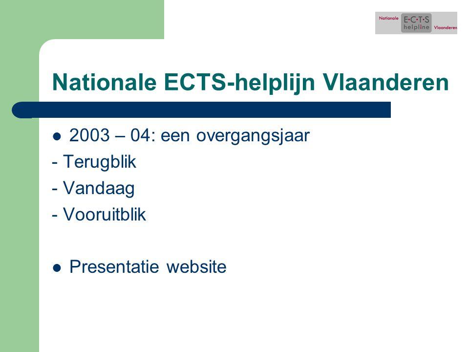 Nationale ECTS-helplijn Vlaanderen 2003 – 04: een overgangsjaar - Terugblik - Vandaag - Vooruitblik Presentatie website
