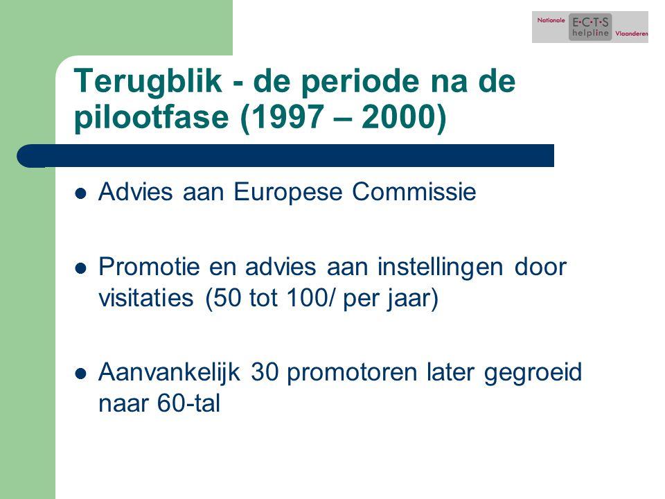 Terugblik - de periode na de pilootfase (1997 – 2000) Advies aan Europese Commissie Promotie en advies aan instellingen door visitaties (50 tot 100/ per jaar) Aanvankelijk 30 promotoren later gegroeid naar 60-tal
