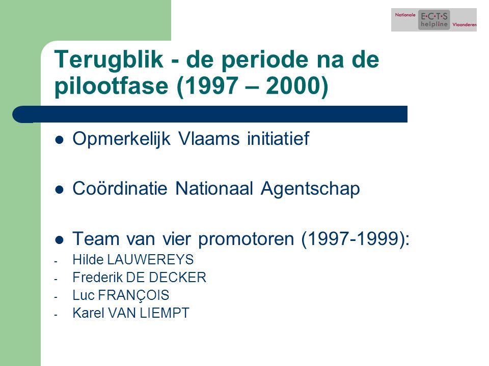 Terugblik - de periode na de pilootfase (1997 – 2000) Opmerkelijk Vlaams initiatief Coördinatie Nationaal Agentschap Team van vier promotoren (1997-1999): - Hilde LAUWEREYS - Frederik DE DECKER - Luc FRANÇOIS - Karel VAN LIEMPT