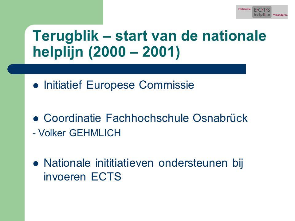 Terugblik – start van de nationale helplijn (2000 – 2001) Initiatief Europese Commissie Coordinatie Fachhochschule Osnabrück - Volker GEHMLICH Nationale inititiatieven ondersteunen bij invoeren ECTS