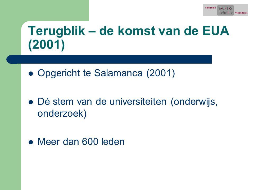 Terugblik – de komst van de EUA (2001) Opgericht te Salamanca (2001) Dé stem van de universiteiten (onderwijs, onderzoek) Meer dan 600 leden