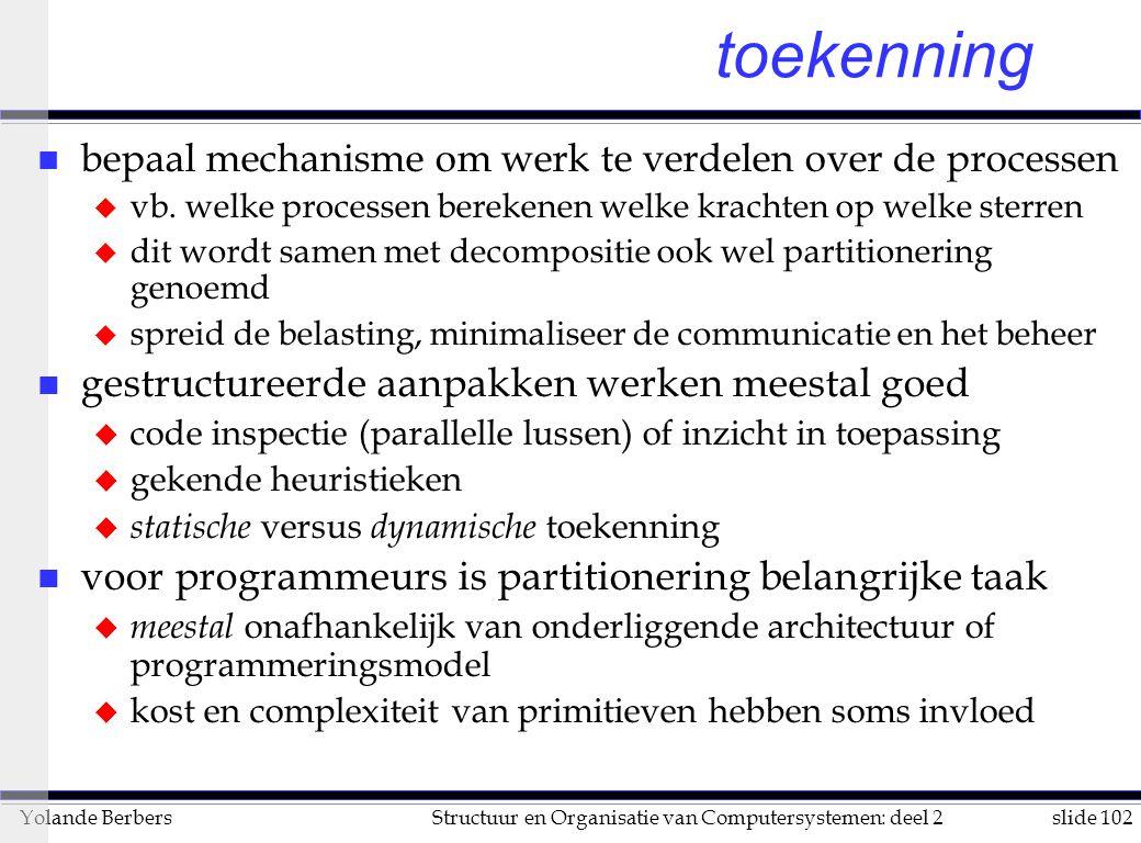slide 102Structuur en Organisatie van Computersystemen: deel 2Yolande Berbers toekenning n bepaal mechanisme om werk te verdelen over de processen u vb.