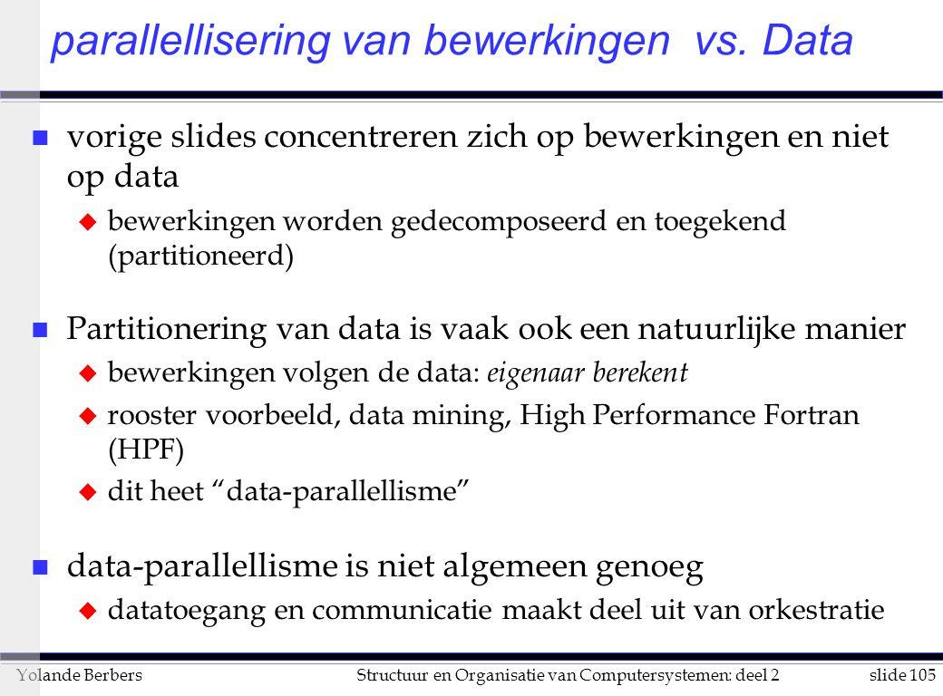 slide 105Structuur en Organisatie van Computersystemen: deel 2Yolande Berbers parallellisering van bewerkingen vs.