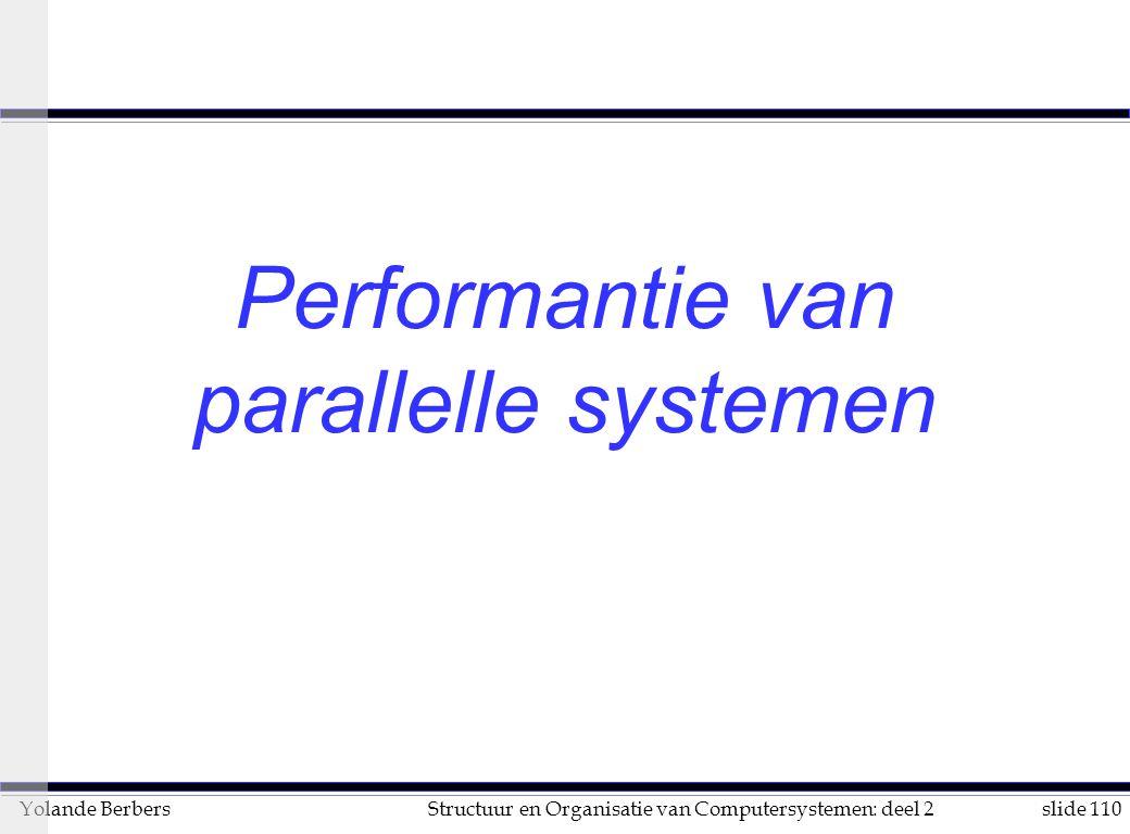 slide 110Structuur en Organisatie van Computersystemen: deel 2Yolande Berbers Performantie van parallelle systemen