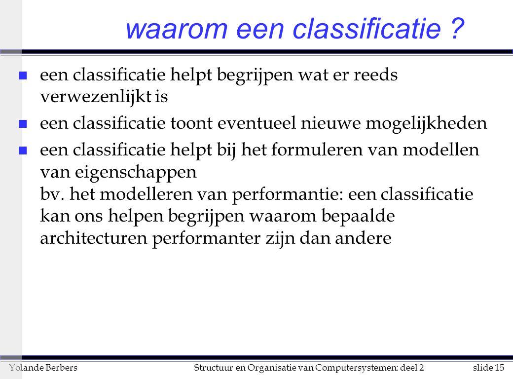 slide 15Structuur en Organisatie van Computersystemen: deel 2Yolande Berbers waarom een classificatie .