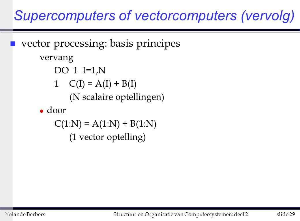 slide 29Structuur en Organisatie van Computersystemen: deel 2Yolande Berbers n vector processing: basis principes vervang DO 1 I=1,N 1C(I) = A(I) + B(