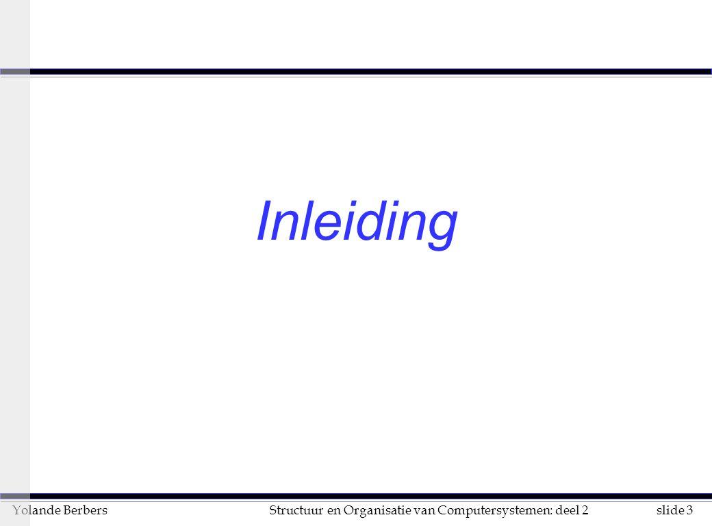 slide 44Structuur en Organisatie van Computersystemen: deel 2Yolande Berbers voor- en nadelen van multicomputers n voordelen u processoren werken meestal met lokaal geheugen l netwerk minder belast l architectuur uitbreidbaar op grote schaal (MPP) u geen ingewikkelde synchronisatie nodig n nadelen u belastingsspreiding is absoluut noodzakelijk u communicatie met boodschappen: deadlock-gevaar