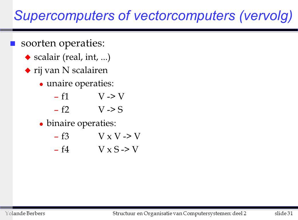 slide 31Structuur en Organisatie van Computersystemen: deel 2Yolande Berbers n soorten operaties: u scalair (real, int,...) u rij van N scalairen l unaire operaties: –f1V -> V –f2V -> S l binaire operaties: –f3V x V -> V –f4V x S -> V Supercomputers of vectorcomputers (vervolg)