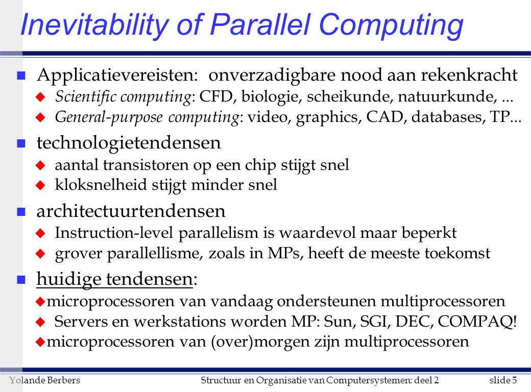slide 5Structuur en Organisatie van Computersystemen: deel 2Yolande Berbers Inevitability of Parallel Computing n Applicatievereisten: onverzadigbare nood aan rekenkracht u Scientific computing : CFD, biologie, scheikunde, natuurkunde,...